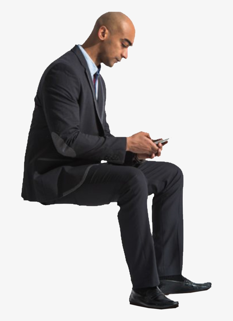 Cutout Man Sitting Phone People Sitting Png, Person.
