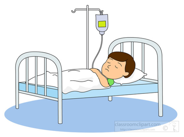 Child In Hospital Bed Clipart.
