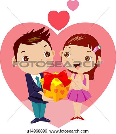 Clip Art of love, two people, happiness, anniversary u14968896.