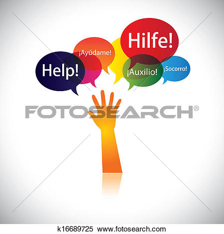 Clipart of concept of a child or person in distress requesting.