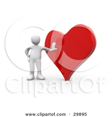 Clipart Illustration of a 3D White Person Leaning Against A.