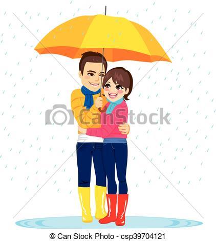 Vector Illustration of Love Couple Under Rain.