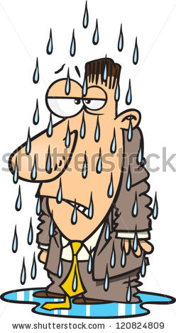 Upset Cartoon Man Soaked By Rain Stock Vector 120824809.