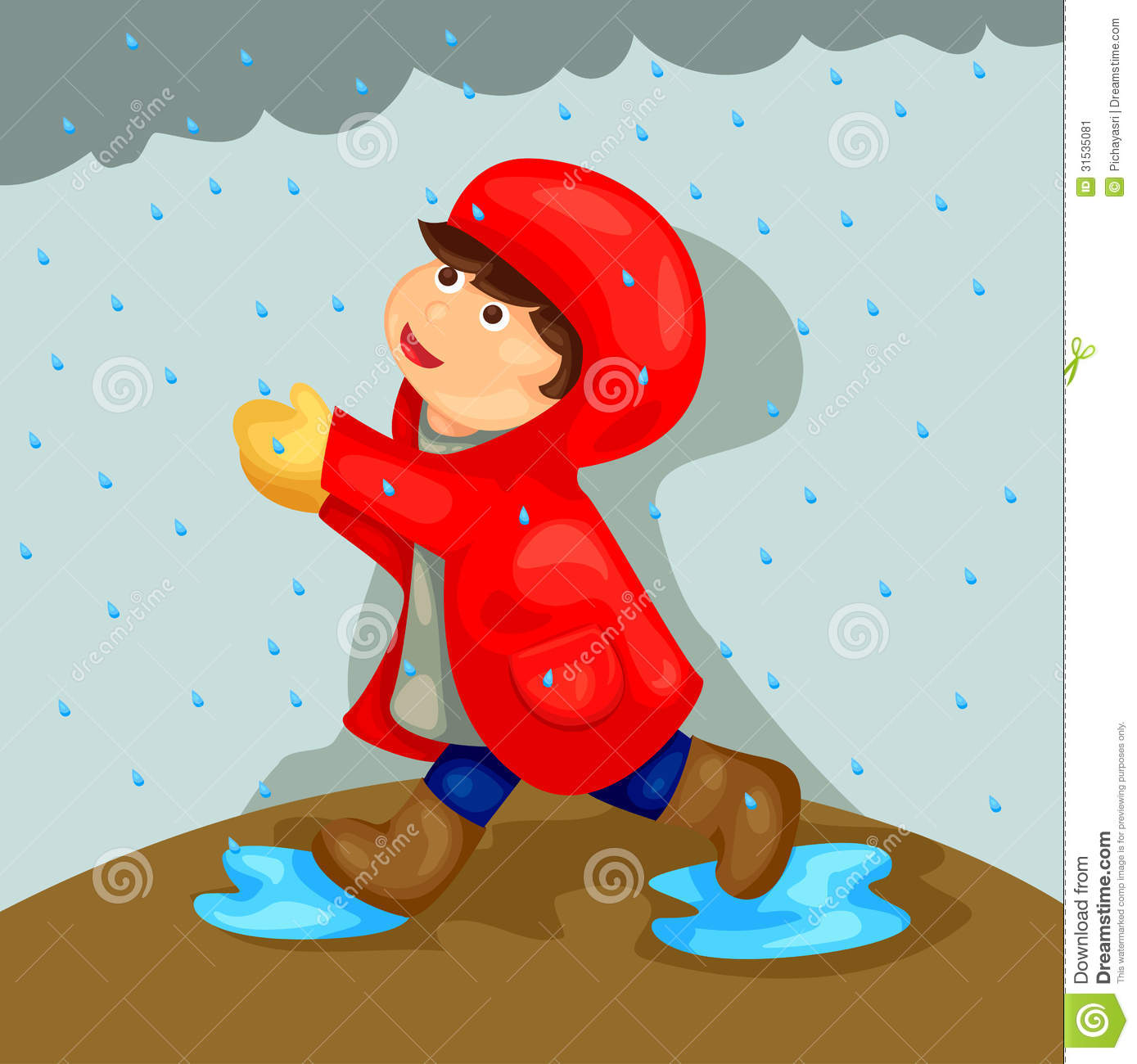 Boy Playing In The Rain Stock Image.