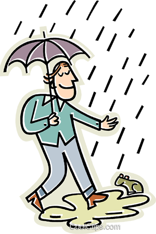 man walking in the rain with an umbrella Royalty Free Vector Clip.