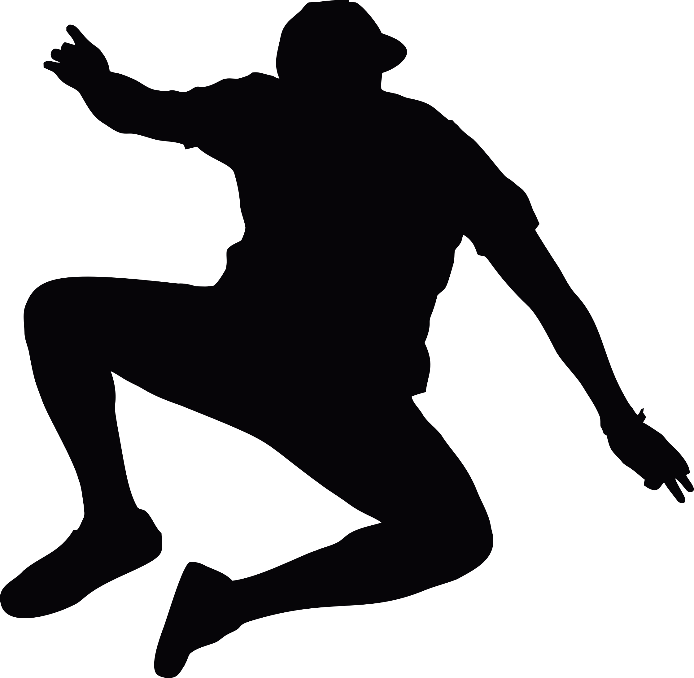Silhouette Person Jumping.