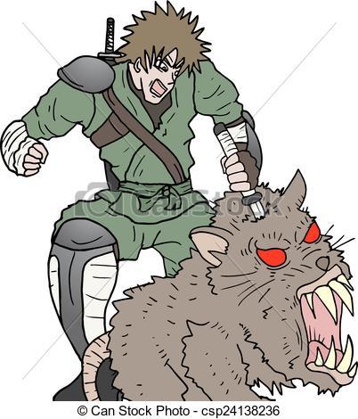 Vectors of Samurai kill big rat.