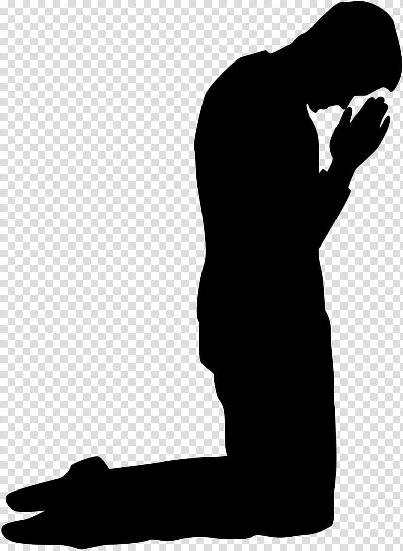 Prayer Kneeling , praying silhouette transparent background.