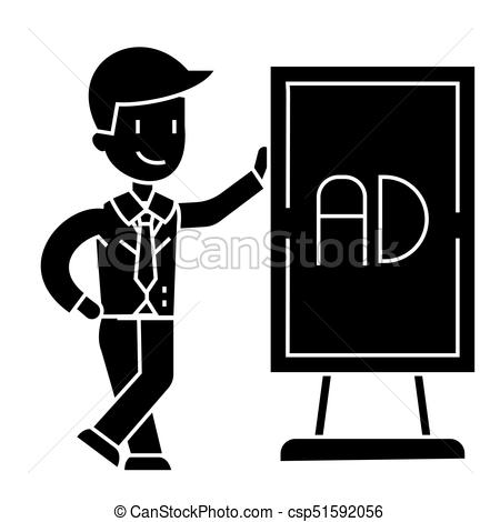 businessman leaning man stand icon, vector illustration, black sign on  isolated background.