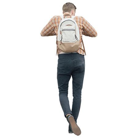 Man wearing an orange plaid shirt and a backpack is leaning.