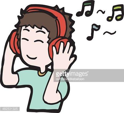 Cartoon man listening to music Clipart Image.