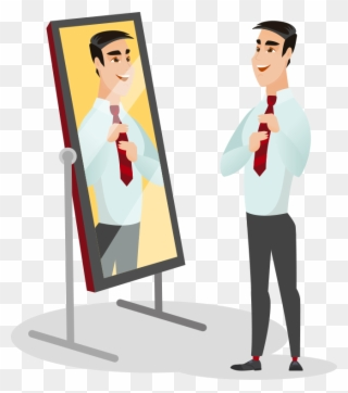 Man Looking In Mirror Illistration.
