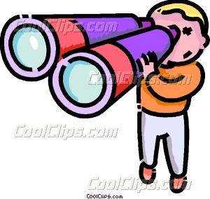 boy looking through binoculars Vector Clip art.