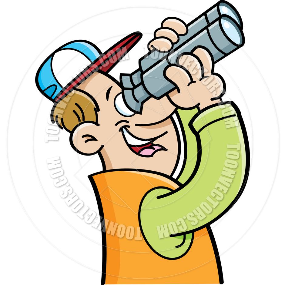 Man Looking Through Binoculars Clipart.