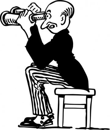 Man Using Binoculars clip art free vector.