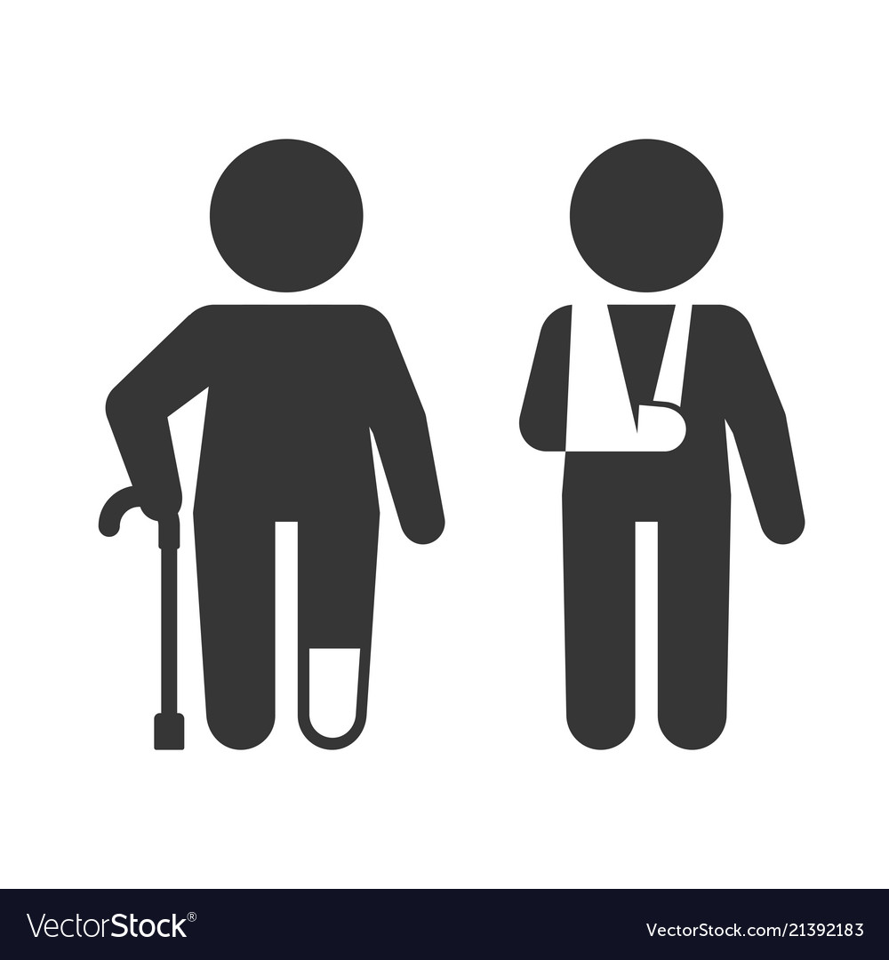 Injured man with crutches icon set.