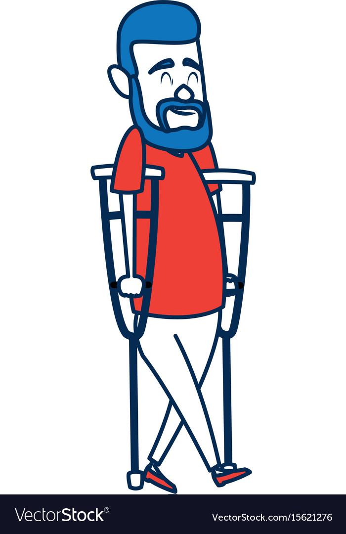 Cartoon man disability walking on crutches.