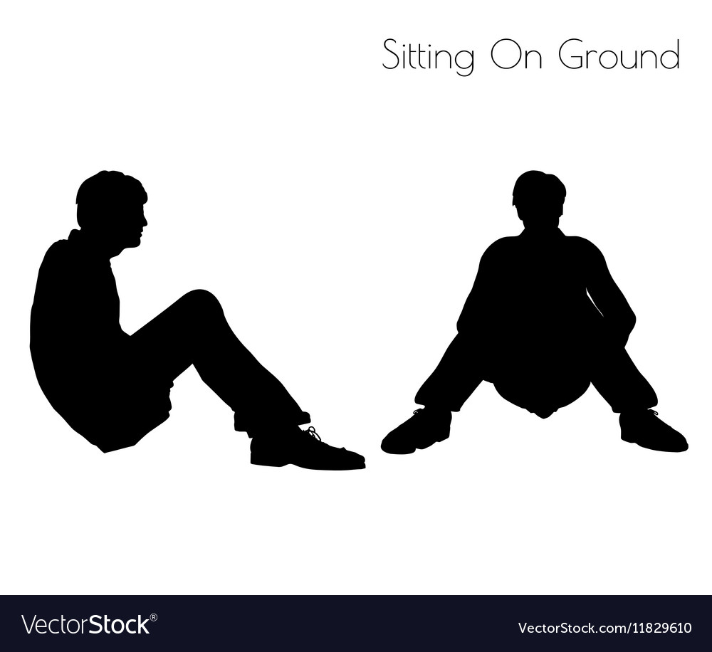Man Sitting On Ground Silhouette.