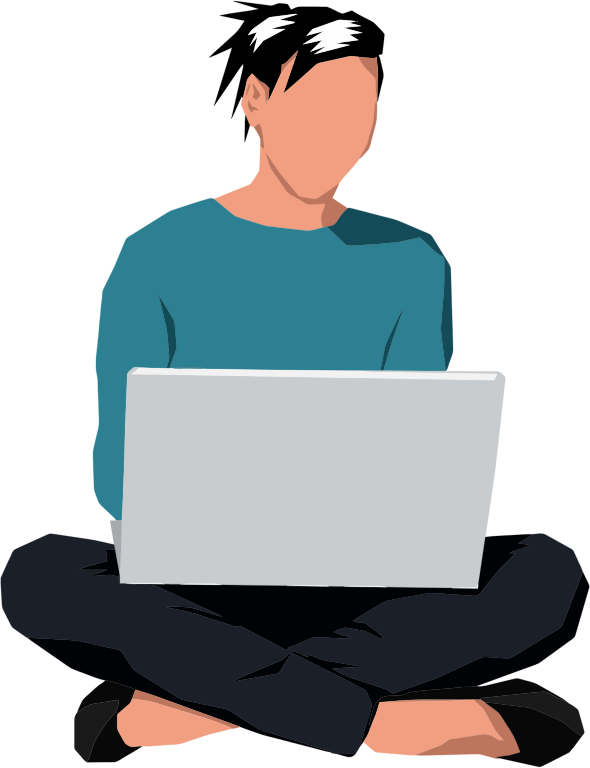Laptop Manspreading Sitting Can Stock Photo.