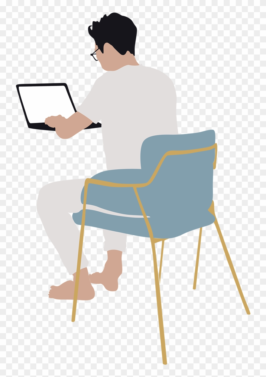 Man Working On Laptop Vector.