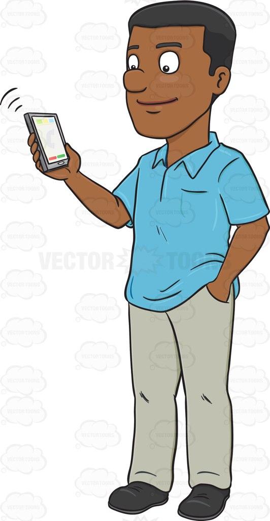 A Black Man Talking To Someone Via His Mobile Phone.