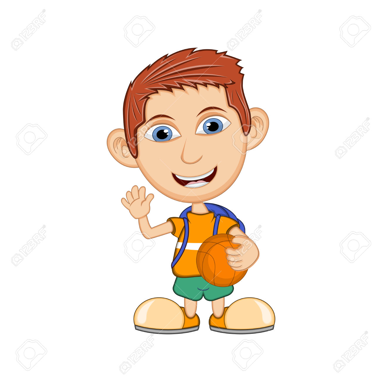 The Boy Playing Basketball Cartoon Vector Illustration Royalty.