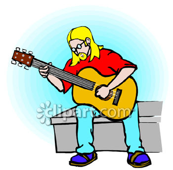 Hippy Guy Playing an Acoustic Guitar.