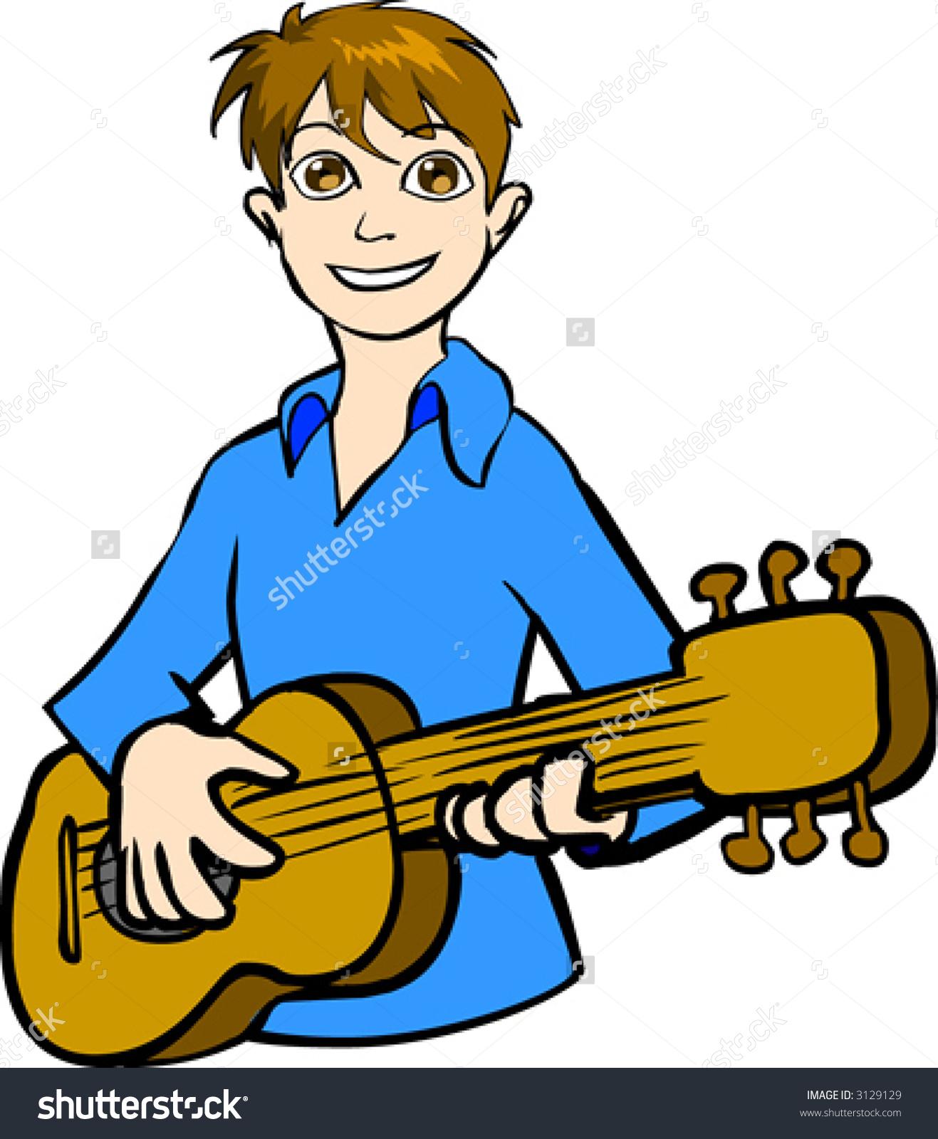 Boy Playing Guitar Stock Vector 3129129.