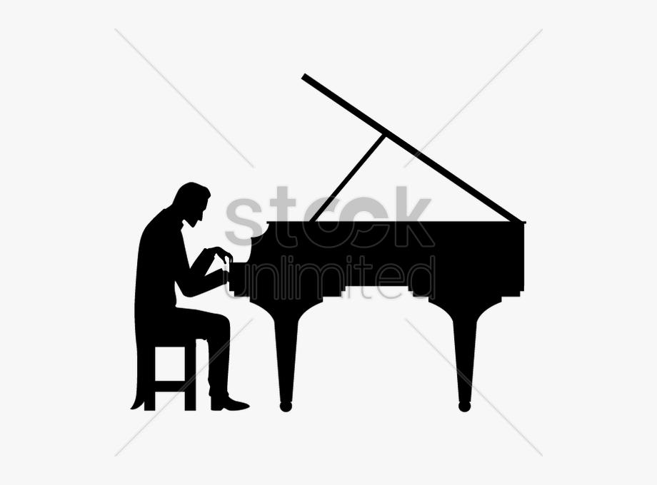 Piano Clipart Woman.
