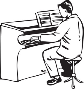 Illustration Of A Man Playing Piano. Royalty.
