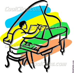 person playing a grand piano Vector Clip art.