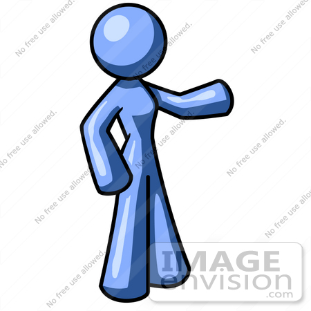 Clip Art Graphic of a Blue Woman Character Standing And Pointing.