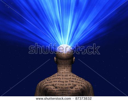 Man Covered In Text With Light Radiating From Mind Stock Photo.