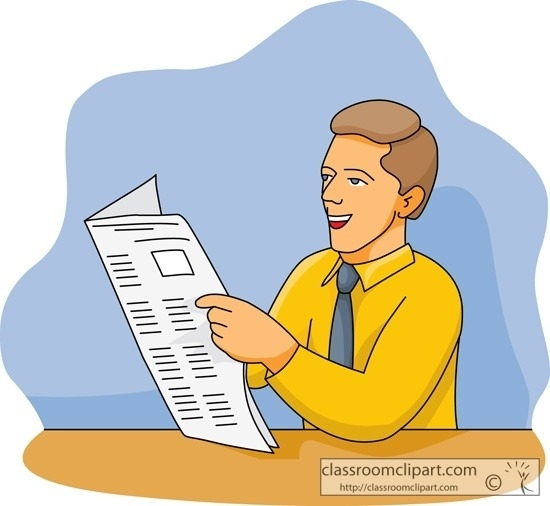 People Reading Newspaper Clipart.