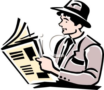 Man Reading A Newspaper Clipart.