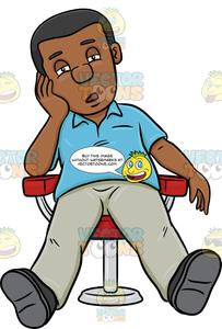 A Black Man Resting On A Chair.