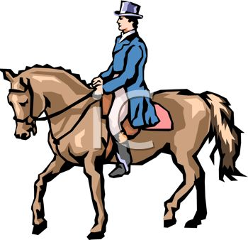 Picture of a Jockey Walking His Horse In a Vector Clip Art.