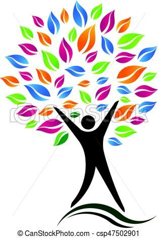 Vector Clipart of Person Tree Vector Icon illustration.