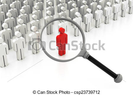 Clipart of Choose the right person, searching people.