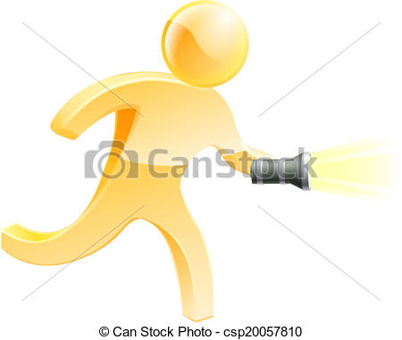 Vector Clip Art of Searching torch person.