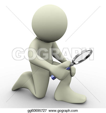 Man And Magnifying Glass Stock Illustrations.