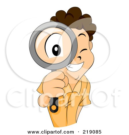 Clipart 3d Ivory Person Kneeling And Searching With A Magnifying.