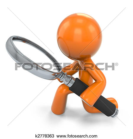 Clip Art of Man with magnifying glass k5507892.