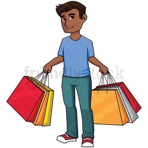 Black Man Holding Shopping Bags в 2019 г..