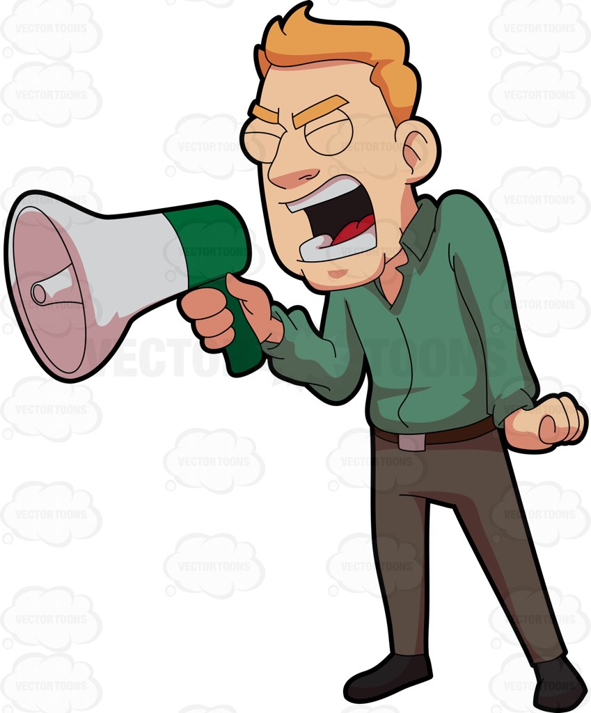 A Furious Man Shouting Over The Megaphone Cartoon Clipart.