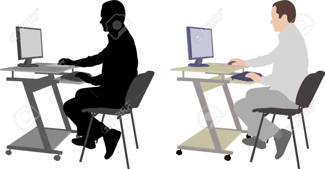 Man Sitting In Front Of Computer Clipart.