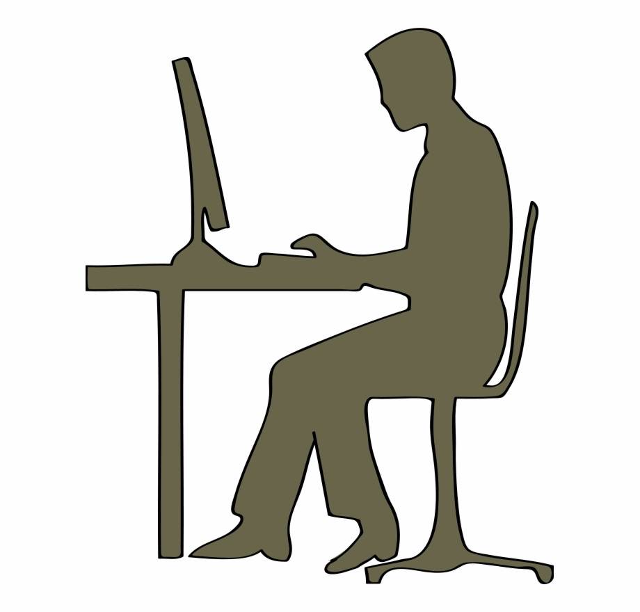 Man Sitting At Computer Clipart.