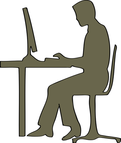Silhouette of man sitting at computer desk vector clip art.