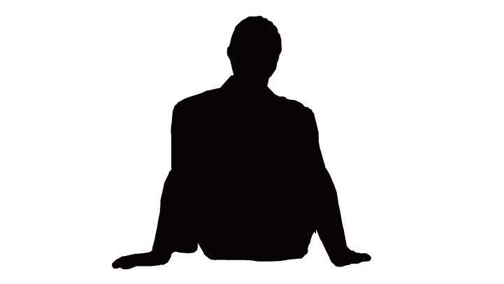 Silhouette Man Sitting.