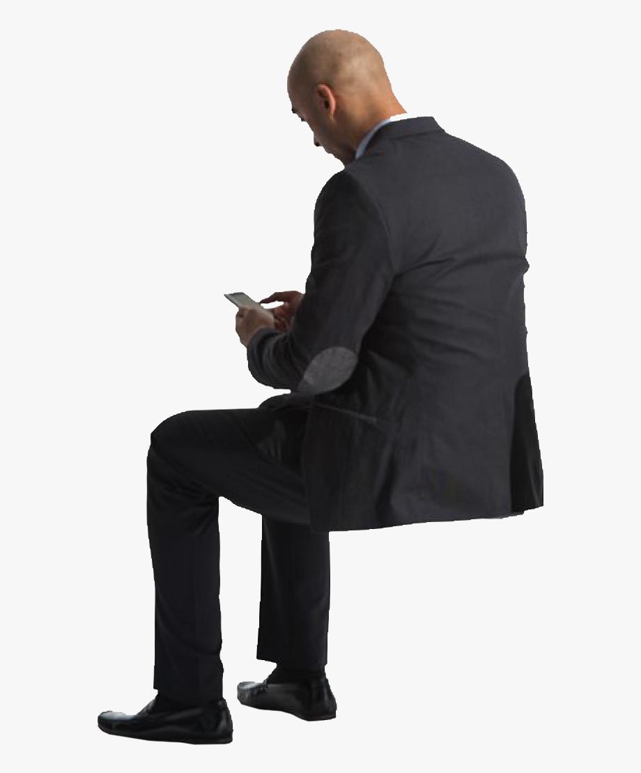 Cutout Man Sitting Phone Back.